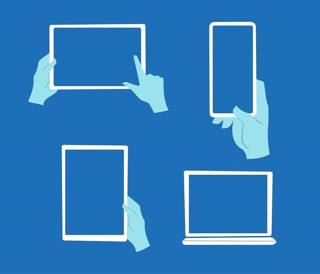 Ręki trzyma ekranów dotykowych przyrząda odizolowywający na białym tle