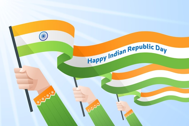 Ręki trzyma indianin flaga dla święta państwowego