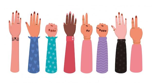 Ręki ustawiają ilustrację upełnomocnienie kobiet. kobieca moc feministyczna koncepcja