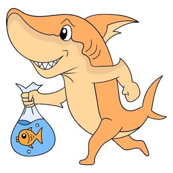 Rekin chodzący z szczęśliwą buzią niosący ozdobne złote rybki w plastikowej torbie, ilustracja wektorowa sztuki. doodle ikona obrazu kawaii.