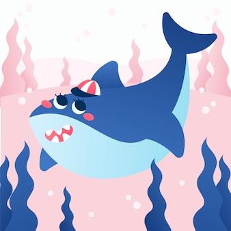 Rekin dziecięcy z roślinami morskimi