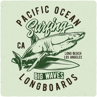 Rekin na desce surfingowej