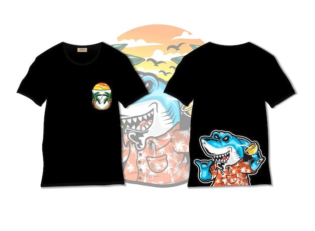 Rekin na wakacje ilustracja z projektem koszulki, wyciągnąć rękę