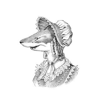 Rekin rybny i mobcap wiktoriańska kobieta w kapeluszu i garniturze moda zwierzęca postać ręcznie rysowane szkic