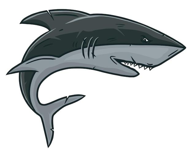 Rekin w stylu vintage na białym tle ilustracji.