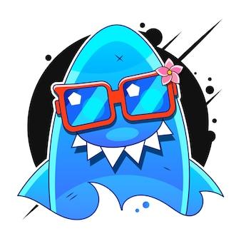 Rekin z otwartymi ustami. izolacja rekina na białym tle. płaska ilustracja wektorowa