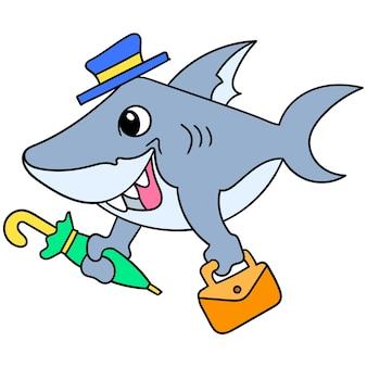 Rekin ze szczęśliwym wyrazem twarzy pełen entuzjazmu niosący torbę gotową do występu jako magik, rysuje doodle kawaii. ilustracja
