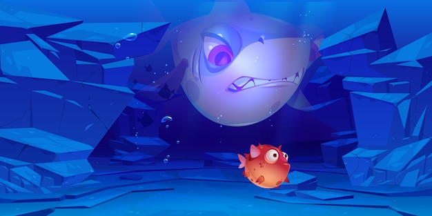 Rekiny i ryby rozdymkowate na dnie morza lub oceanu ze skałami wokół pod wodą