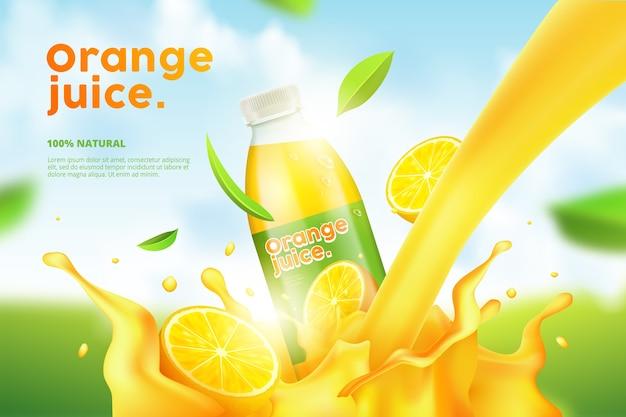 Reklama butelki napoju pomarańczowego