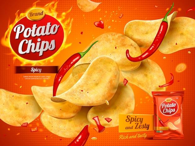 Reklama chipsów ziemniaczanych o pikantnym smaku