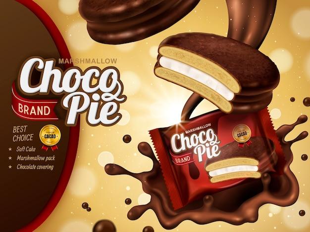 Reklama ciasta czekoladowego marshmallow, sos czekoladowy premium splashg i miękkie ciasto z pakietem na białym tle na tle bokeh brokatu