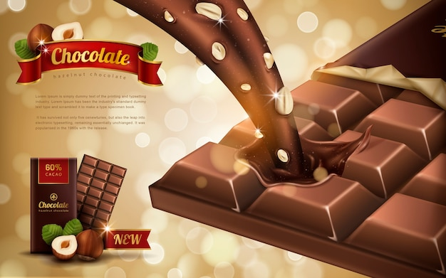 Reklama czekolady o smaku orzecha laskowego, tło bokeh