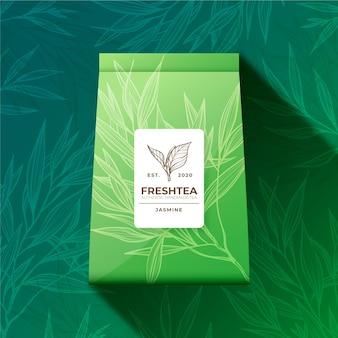 Reklama herbaty z dekoracją akwarelową