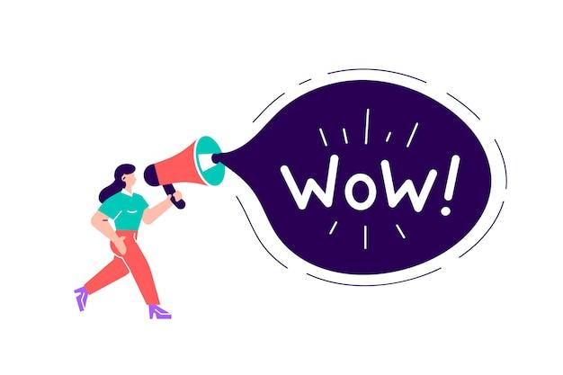 Reklama i promocja. kobieta charakter krzyczy w rocznika głośniku, dużego megafonu reklamy marketingowy pojęcie. ogłoszenie komunikacji biznesowej. kreskówki mieszkania stylu ilustracyjny projekt