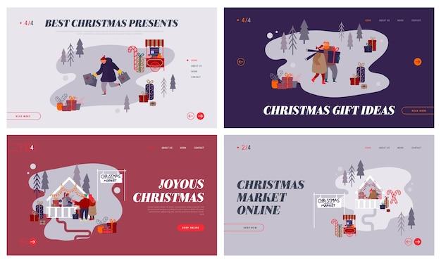 Reklama internetowa christmas market. zestaw stron docelowych z postaciami people robiącymi zakupy na jarmarku bożonarodzeniowym, kupujący świąteczne prezenty na stronę internetową z noworoczną imprezą. kreskówka mieszkanie