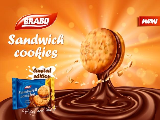 Reklama kanapkowych ciastek czekoladowych, pyszna czekolada kapiąca z ciasteczka z elementem orzecha, projekt opakowania ciastek