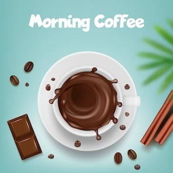 Reklama kawy. plakat z kubkiem kawy z gorące brązowe plamy i ziarna wektor szablon produktu