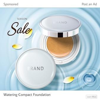 Reklama kosmetyczna odpowiednia do portali społecznościowych, dwóch etui na fundacje i żółtych płatków na falach wody