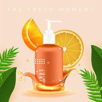 Reklama kosmetyczna z płynem cytrusowym