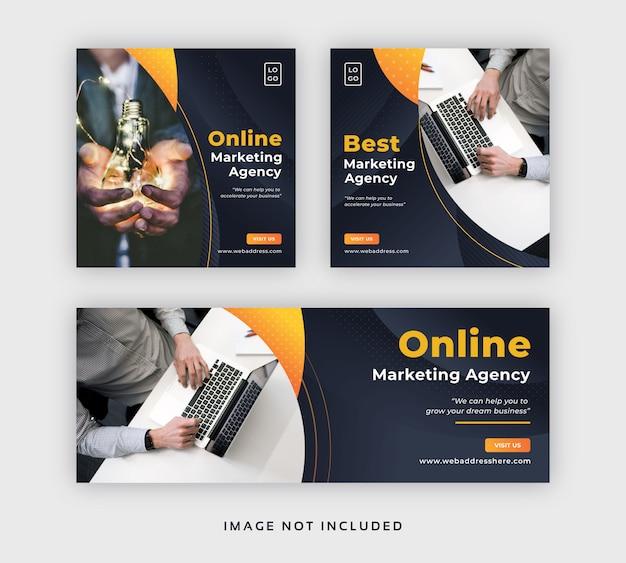 Reklama marketingowa w mediach społecznościowych, baner internetowy i szablon okładki na facebooku