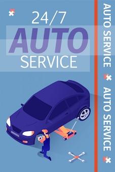 Reklama medialna lub drukowana dla serwisu samochodowego