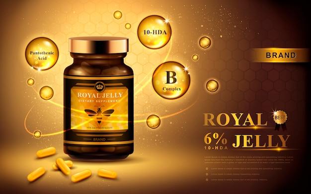 Reklama mleczka pszczelego z kapsułkami i błyszczącymi bąbelkami, złote tło