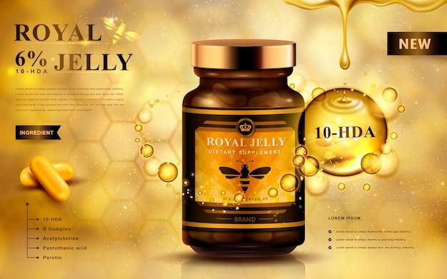 Reklama mleczka pszczelego z kapsułkami i kroplami płynu, złote tło