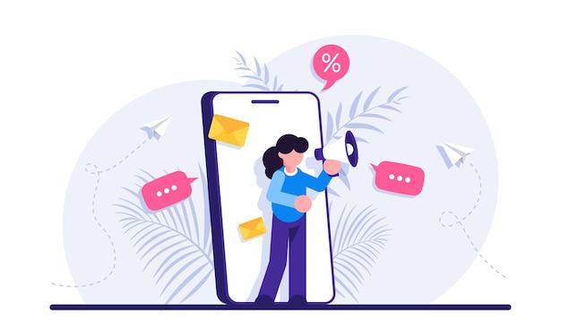 Reklama mobilna, promocja cyfrowa. kobieta z megafonem.
