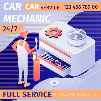 Reklama na całodniową usługę mechaniki samochodowej