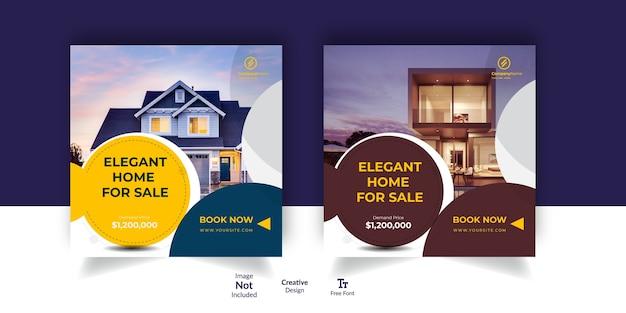 Reklama na instagramie z nieruchomościami i baner reklamowy w mediach społecznościowych
