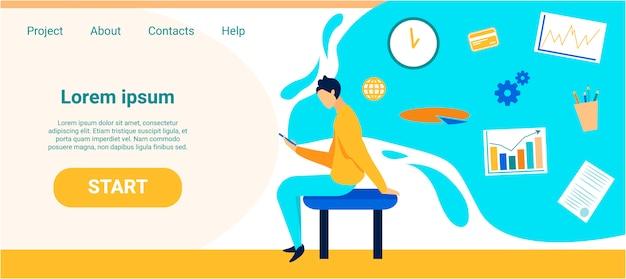 Reklama na stronie docelowej różne aplikacje mobilne