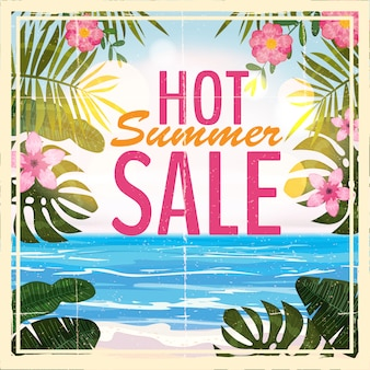 Reklama o letniej wyprzedaży w tle z pięknym widokiem na tropikalną plażę, kwiaty, liście