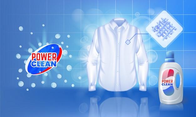 Reklama odplamiaczy z wodą zmywającą poplamioną koszulę.