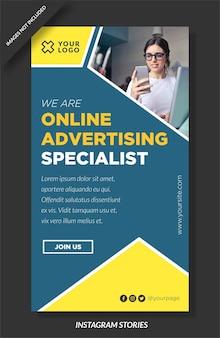 Reklama online jest specjalną historią na instagramie i szablonem mediów społecznościowych