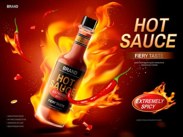 Reklama ostrego sosu z czerwoną papryczką chili i elementami ognia, ciemnoczerwone tło