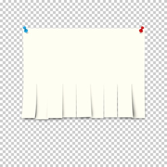 Reklama papierowa z papierami odrywanymi na przezroczystym tle.