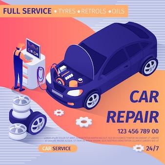 Reklama pełnej naprawy samochodu z usługą diagnostyczną.