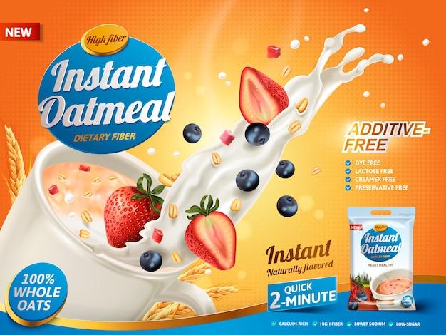 Reklama płatków owsianych z zachlapaniem mlekiem i mieszanką jagód