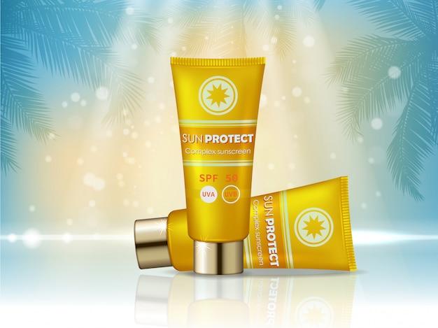Reklama produktów kosmetycznych z blokadą przeciwsłoneczną. butelka kremu z filtrem przeciwsłonecznym, projekt produktów kosmetycznych chroniących przed słońcem.