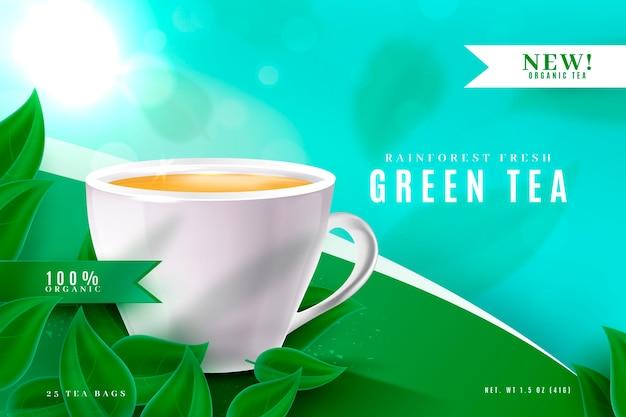 Reklama produktu z napojami z zielonej herbaty