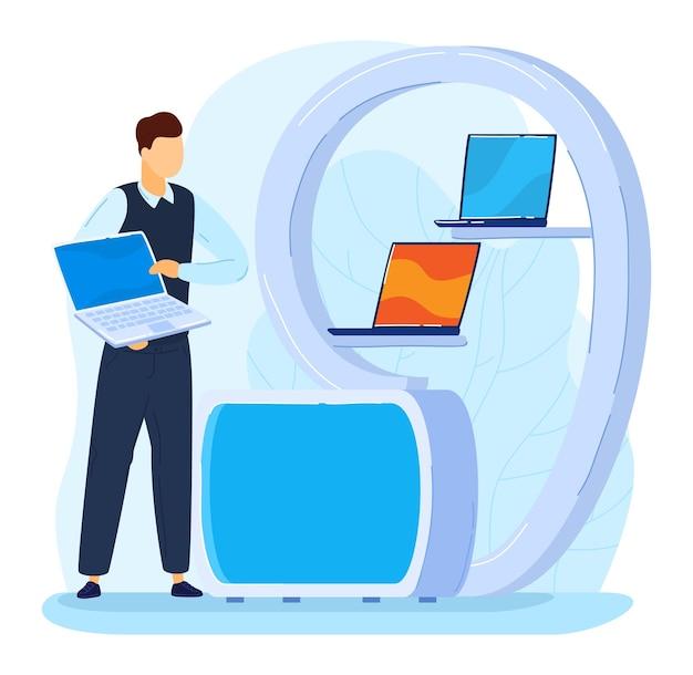 Reklama promocyjna wystawa marketingowa koncepcja sprzedaży laptopa