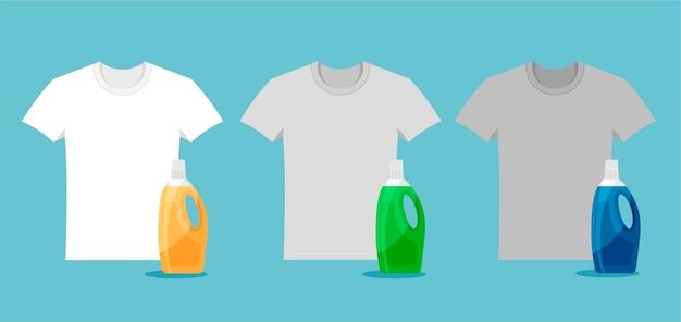 Reklama proszku do prania i detergentu. porównanie detergentów na przykładzie białych koszulek. ubrania przed i po praniu. czysta i brudna szara koszula.