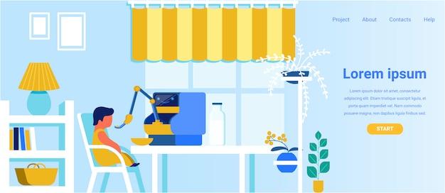 Reklama strony docelowej nowoczesna opiekunka robota