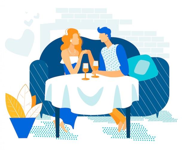 Reklama ulotki romantyczna para zakochanych w mieszkaniu.