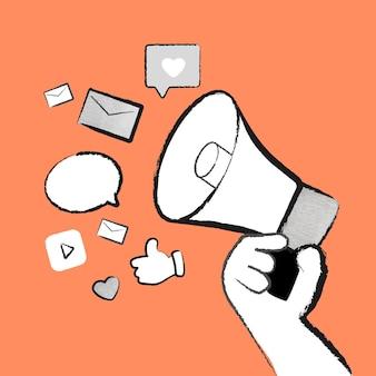 Reklama w mediach społecznościowych megafon wektor doodle pomarańczowa ilustracja