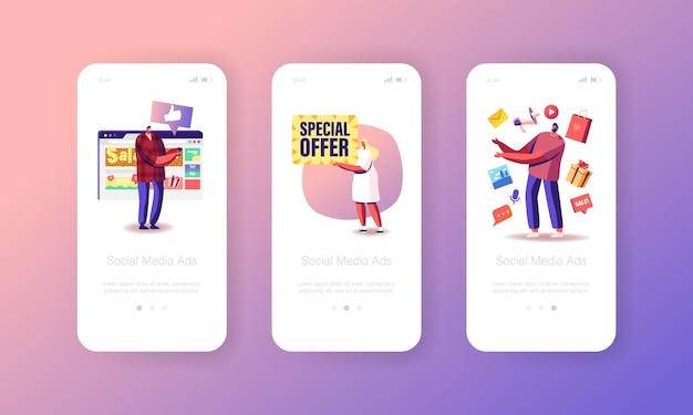 Reklama w mediach społecznościowych, wyprzedaż, oferta specjalna szablon strony aplikacji mobilnej na pokładzie