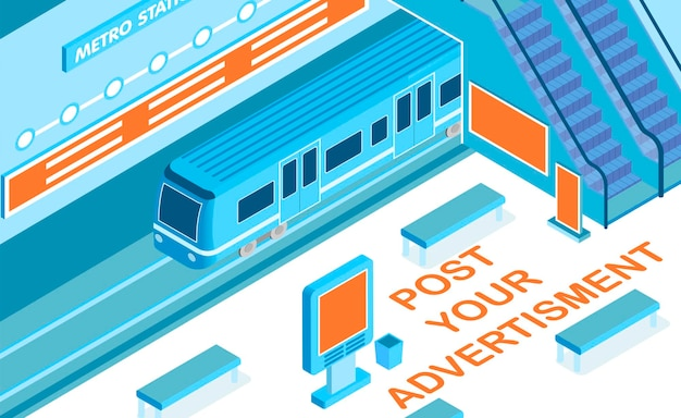 Reklama w metrze z nagłówkiem na ilustracji izometrycznej symboli stacji kolejowej