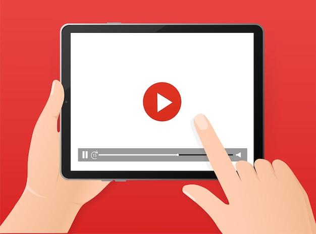 Reklama. wyświetlacz tabletu. baner z odtwarzaczem online tabletu. sieć mediów społecznościowych. ilustracja gadżetu.
