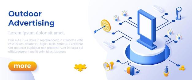 Reklama zewnętrzna - izometryczny projekt w modnych kolorach izometrycznych ikon na niebieskim tle. szablon układu banera do tworzenia stron internetowych