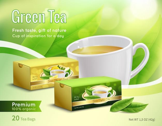 Reklama zielonej herbaty realistyczny skład